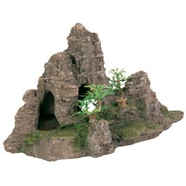 Fjeld med hule og planter 22 cm.