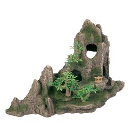 Fjeld med hule og planter 27 cm.