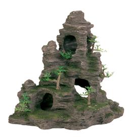 Fjeld med hule og planter 31 cm.