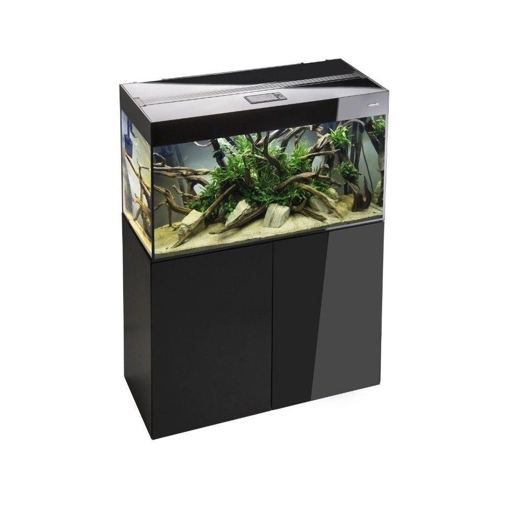 Aquael Glossy 125 liter sort med underskab.