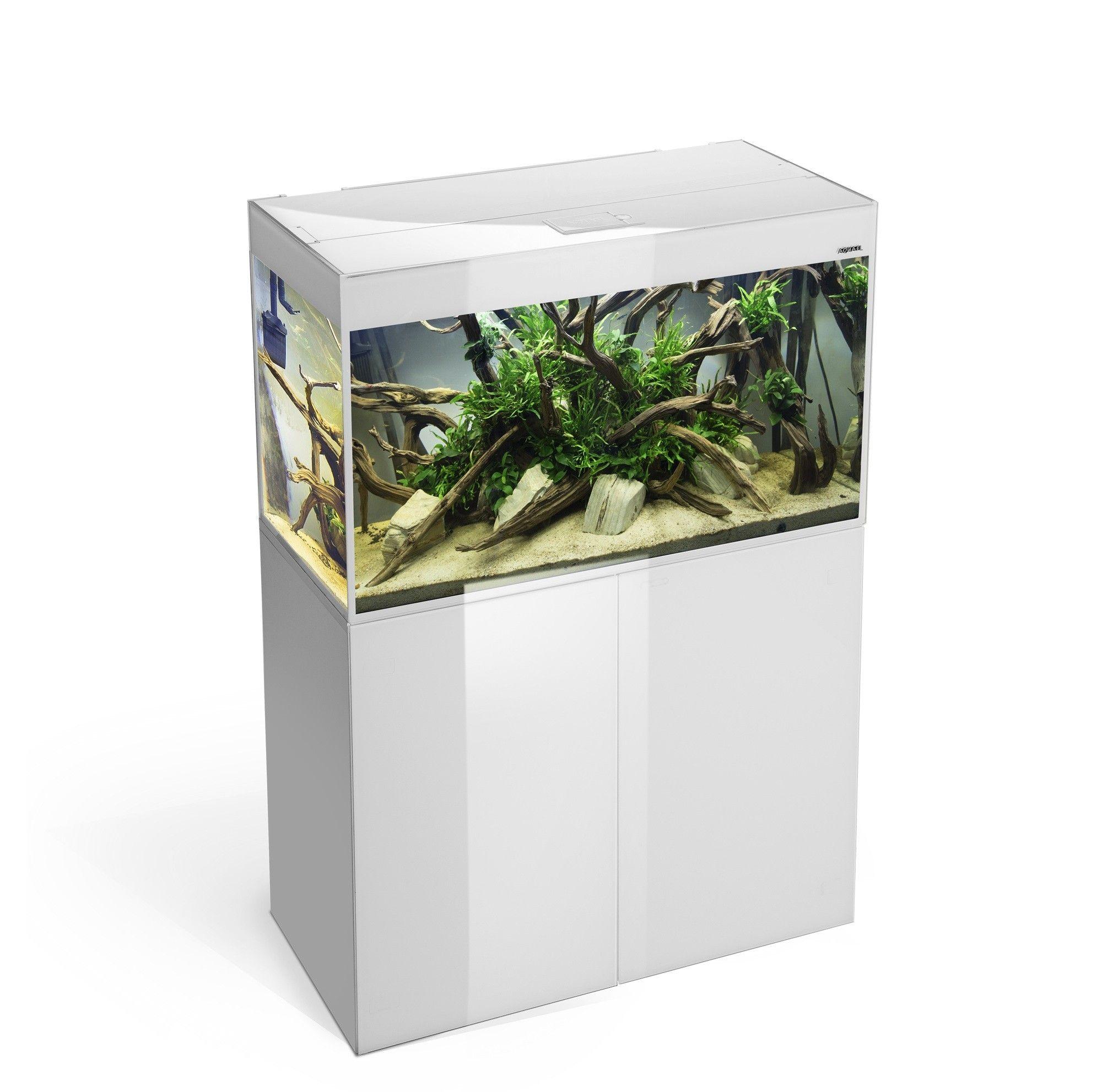 Aquael Glossy 215 liter hvid med underskab.