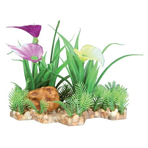 Plastik planter i grus med blomster 13 cm.